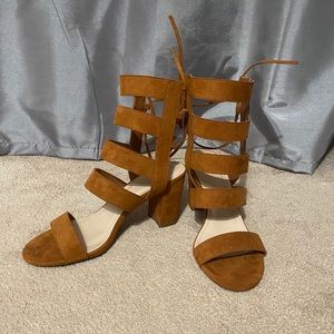 Forever 21 Tan Lace-up Gladiator Style Wedges